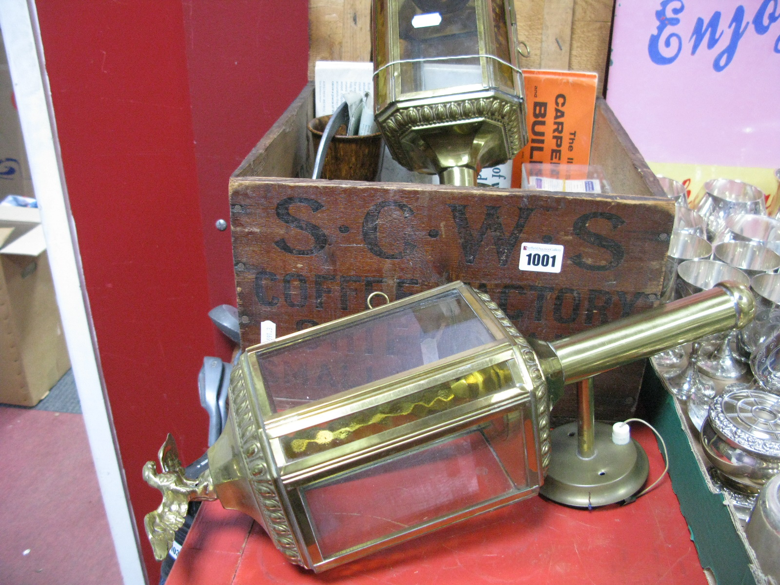 Lot 1001 - A Pair of Victorian Style Carriage Wall Lights, with eagle surmounts, mincer, a 6 volt vintage '