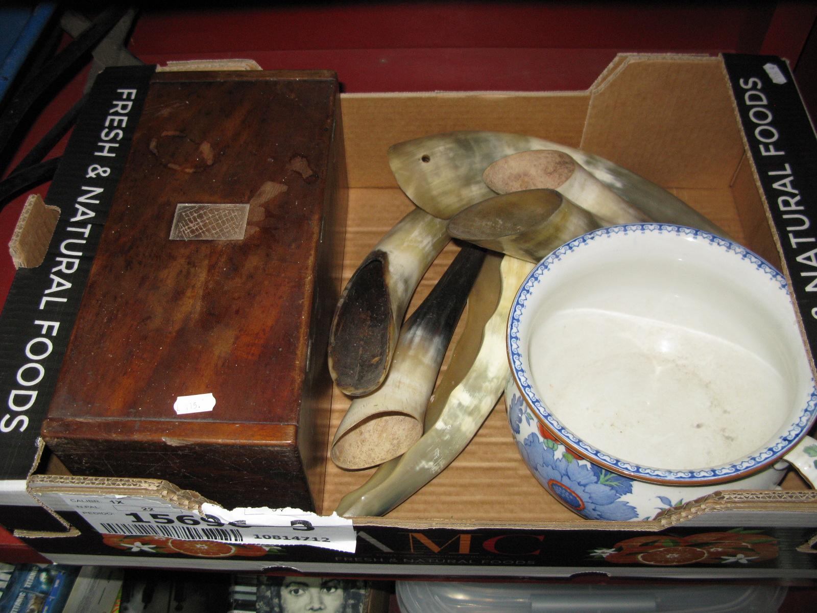 Lot 1019 - A XIX Century Bedside Chamber Pot, mahogany microscope box, horn flower pockets.