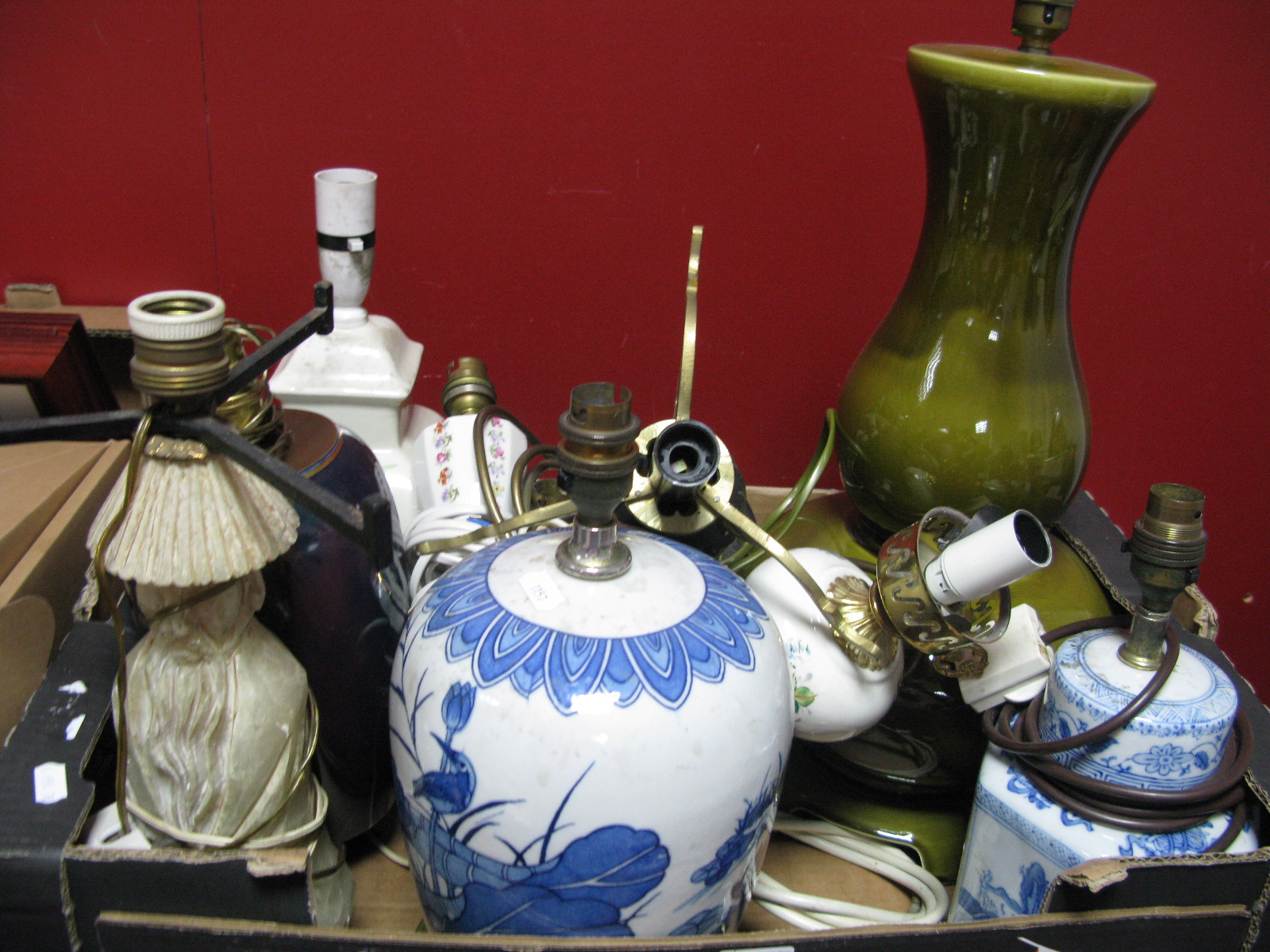 Lot 1018 - Oriental, Daum style, Alabaster and Other Table Lamps:- One Box