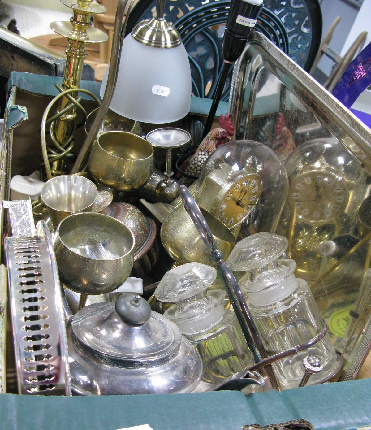 Lot 1058 - Table Lamps, (including novelty), plated cutlery, brass goblets, tray, circular gallery tray, two