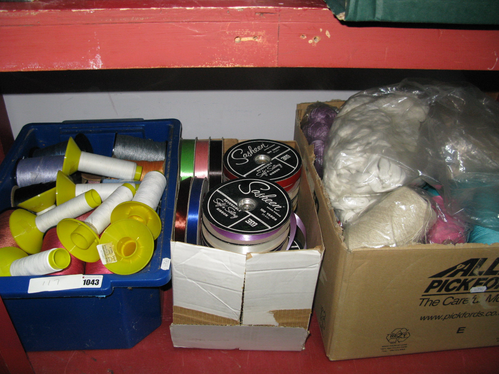 Lot 1043 - A Large Quantity of Wool and Cotton Thread, on spools and skeins; plus ribbon etc:- Six Boxes
