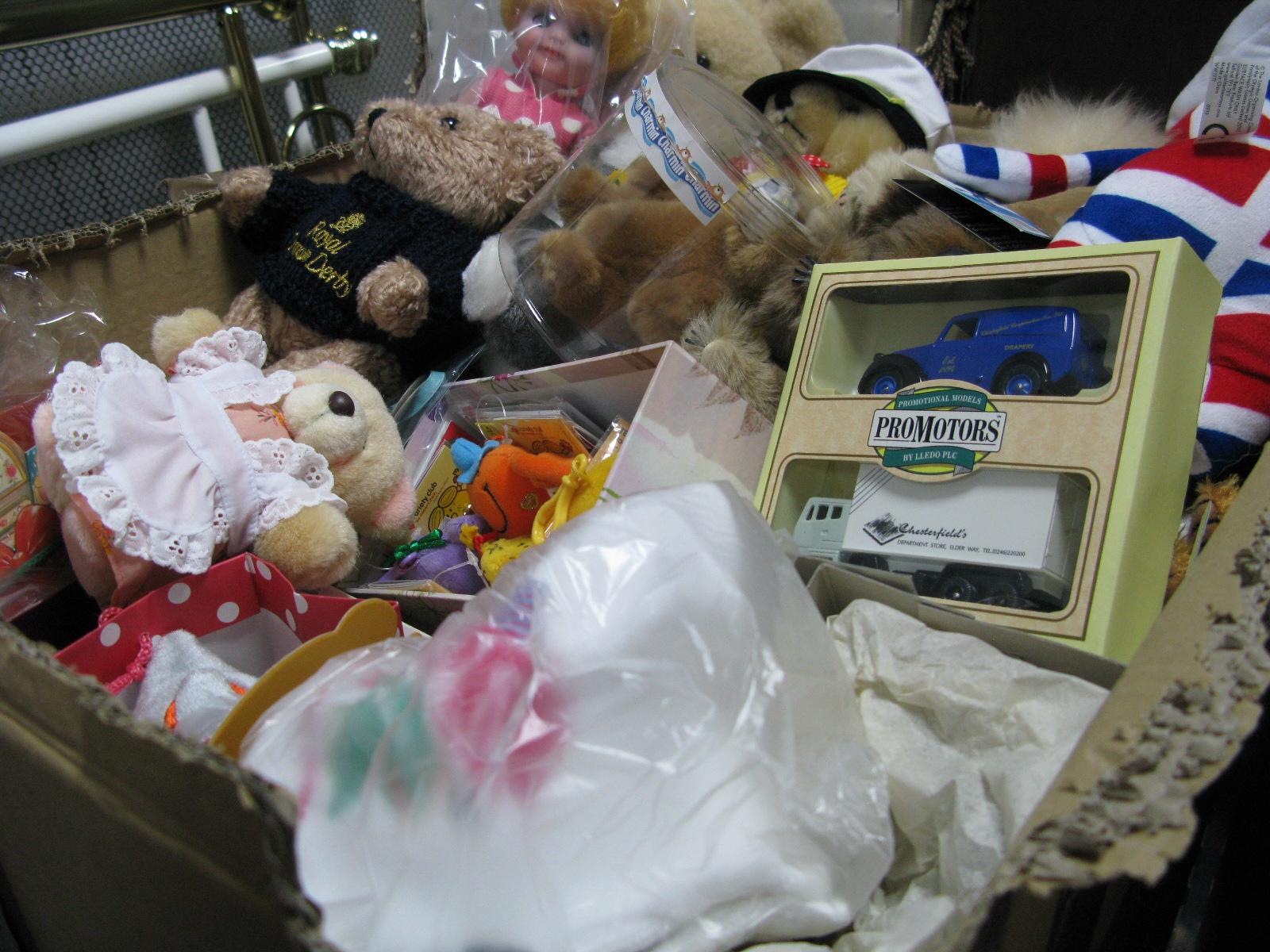 Lot 1046 - A Quantity of Collectors Bears, 'Royal Crown Derby', R.N.L.I, Charmin, etc; doll, Lledo van set:-