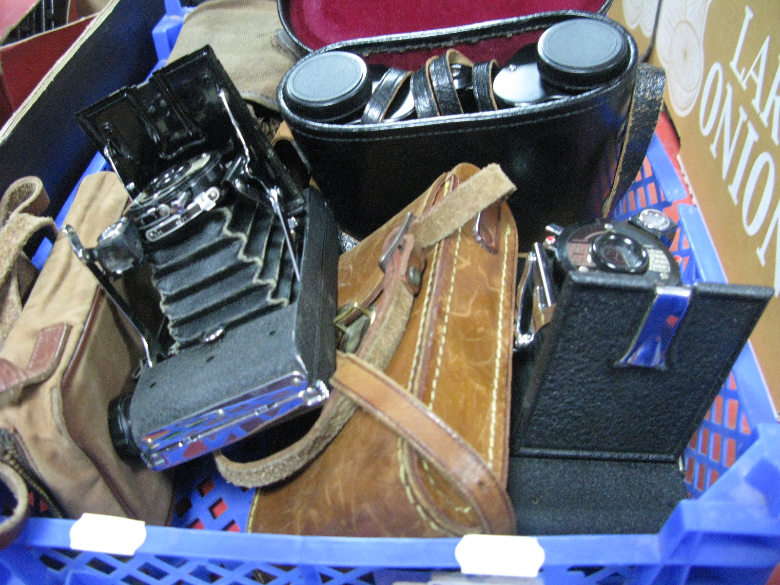 Lot 1008 - A Pair of Optimax 8 x 30 Cased Binoculars, a Penguin Eight 20 folding camera, further penguin