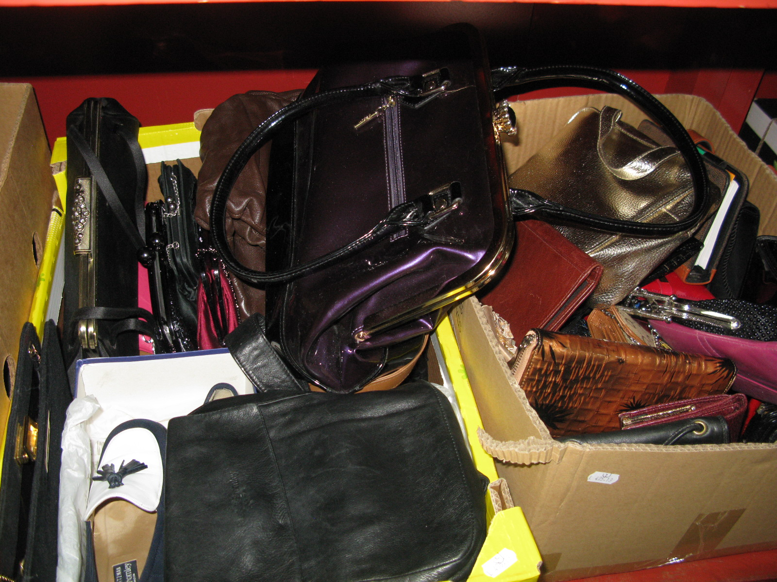 Lot 1022 - Ladies Russell and Bromley Loafer Shoes, K Shoes, evening bags, purses, etc:- Two Boxes