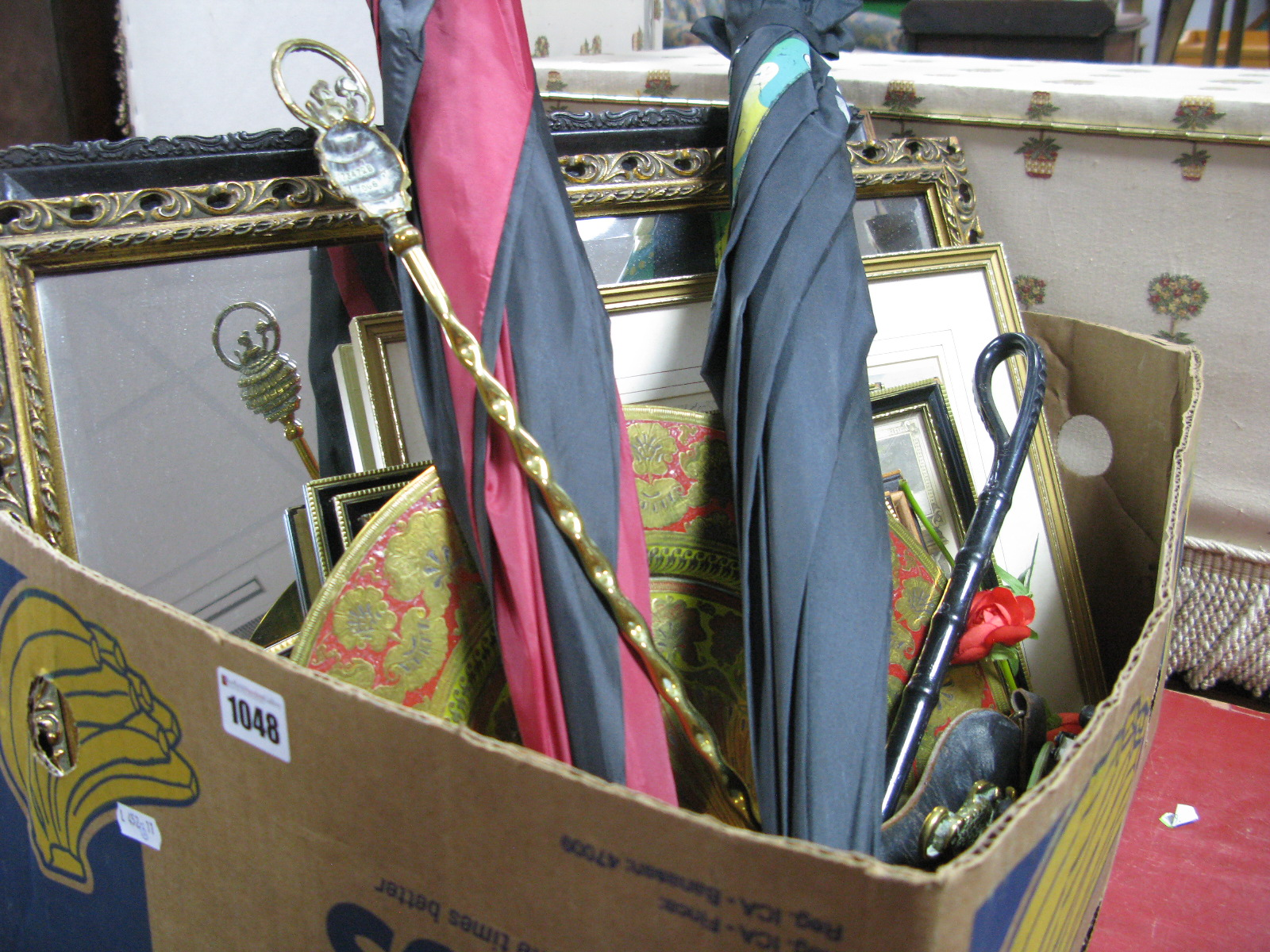 Lot 1048 - pictures, golf brollies, jam pans, etc