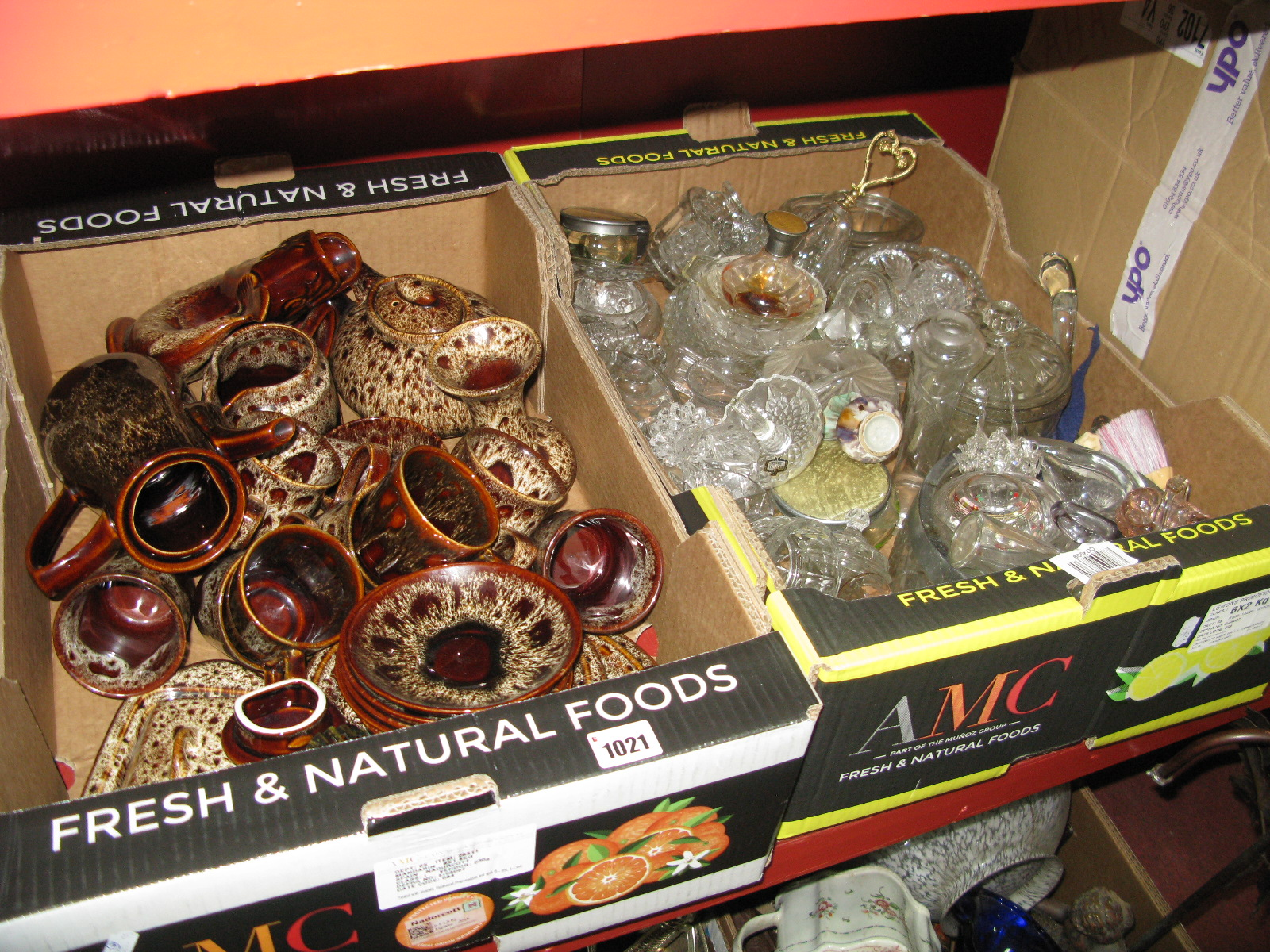 Lot 1021 - Fosters Streaked Pottery Table Ware, glassware:- Three Boxes