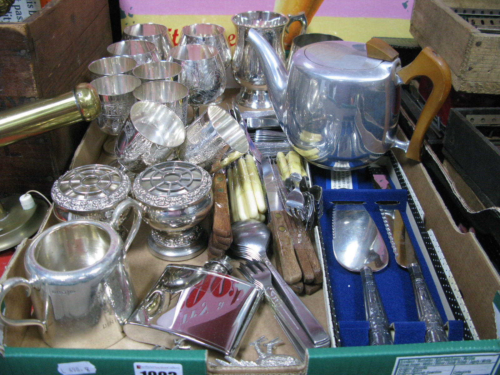 Lot 1003 - Electroplated Goblets, tankards, Great Central Railway Dining Car, sugar bowl, loose cutlery, silver