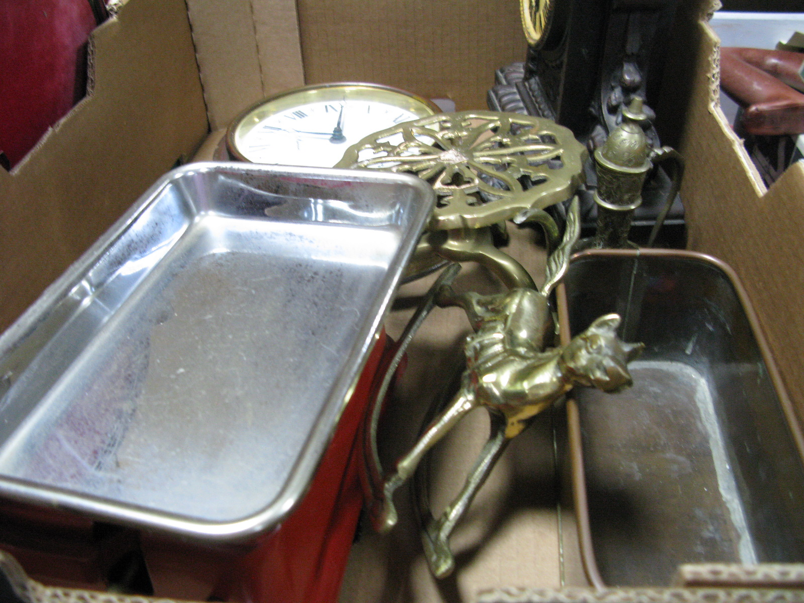 Lot 1055 - French Style Mantel Clock, weighing scales, brass trivet, quartz clock, etc:- One Box