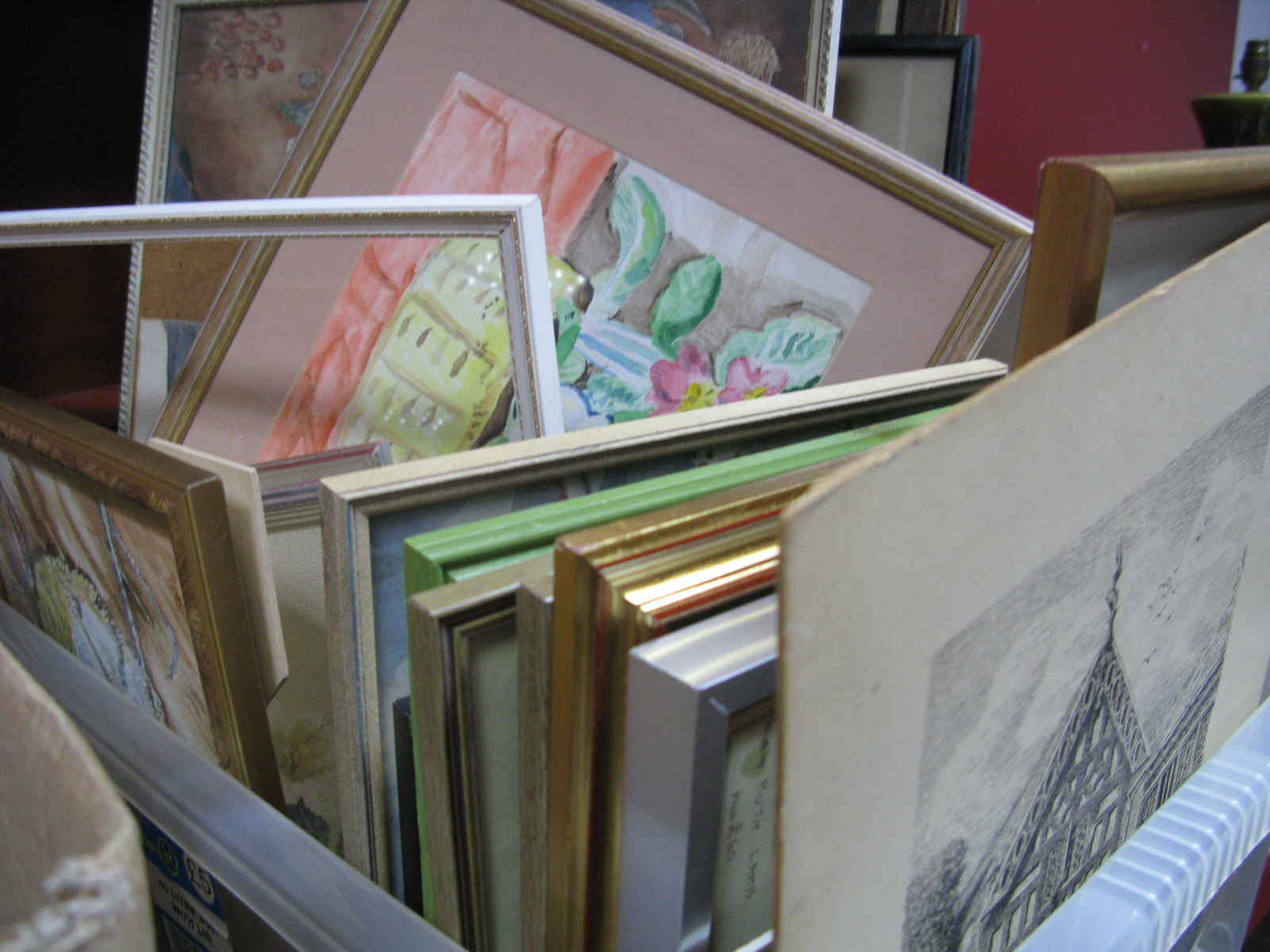 Lot 1016 - Two Etchings of Barlow Hall, other prints and various watercolours by Ruth Lamb etc:- One Box