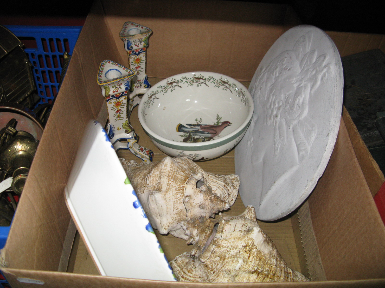 Lot 1024 - Portmeirion Bowl, pair of Delph candlesticks, plaster wall plaque, shells:- One Box