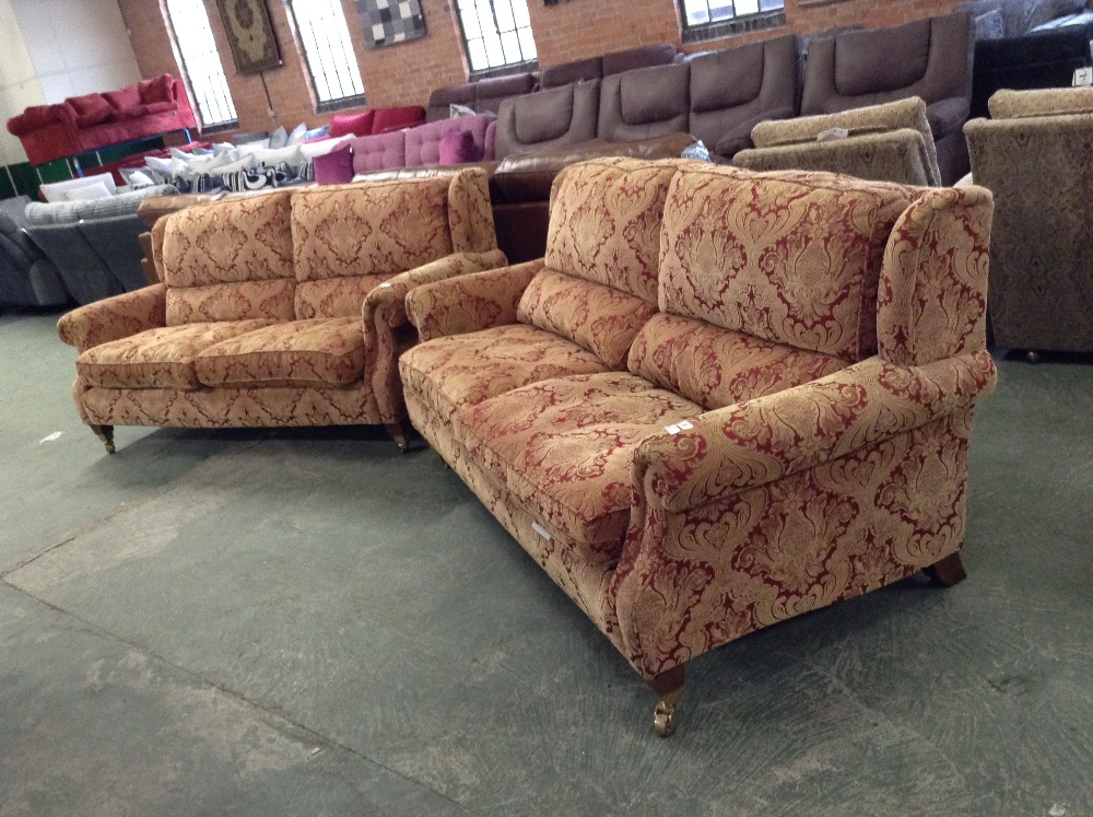 Lot 39 - RED AND GOLD FLORAL PATTERNED HIGH BACK 2 X 3 SEAT
