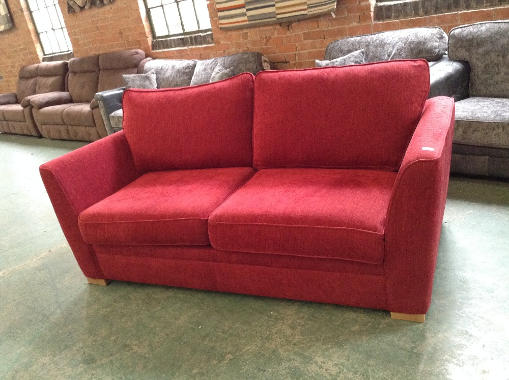 Lot 14 - RED 3 SEATER SOFA