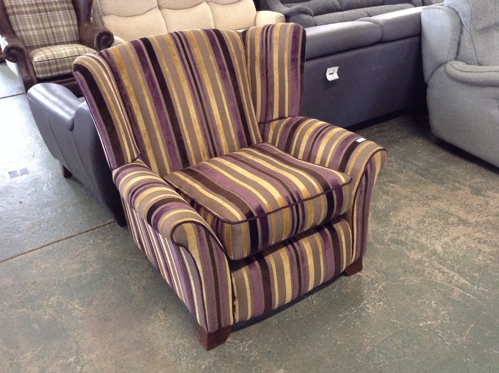 Lot 57 - MULTI COLOURED STRIPED WING CHAIR