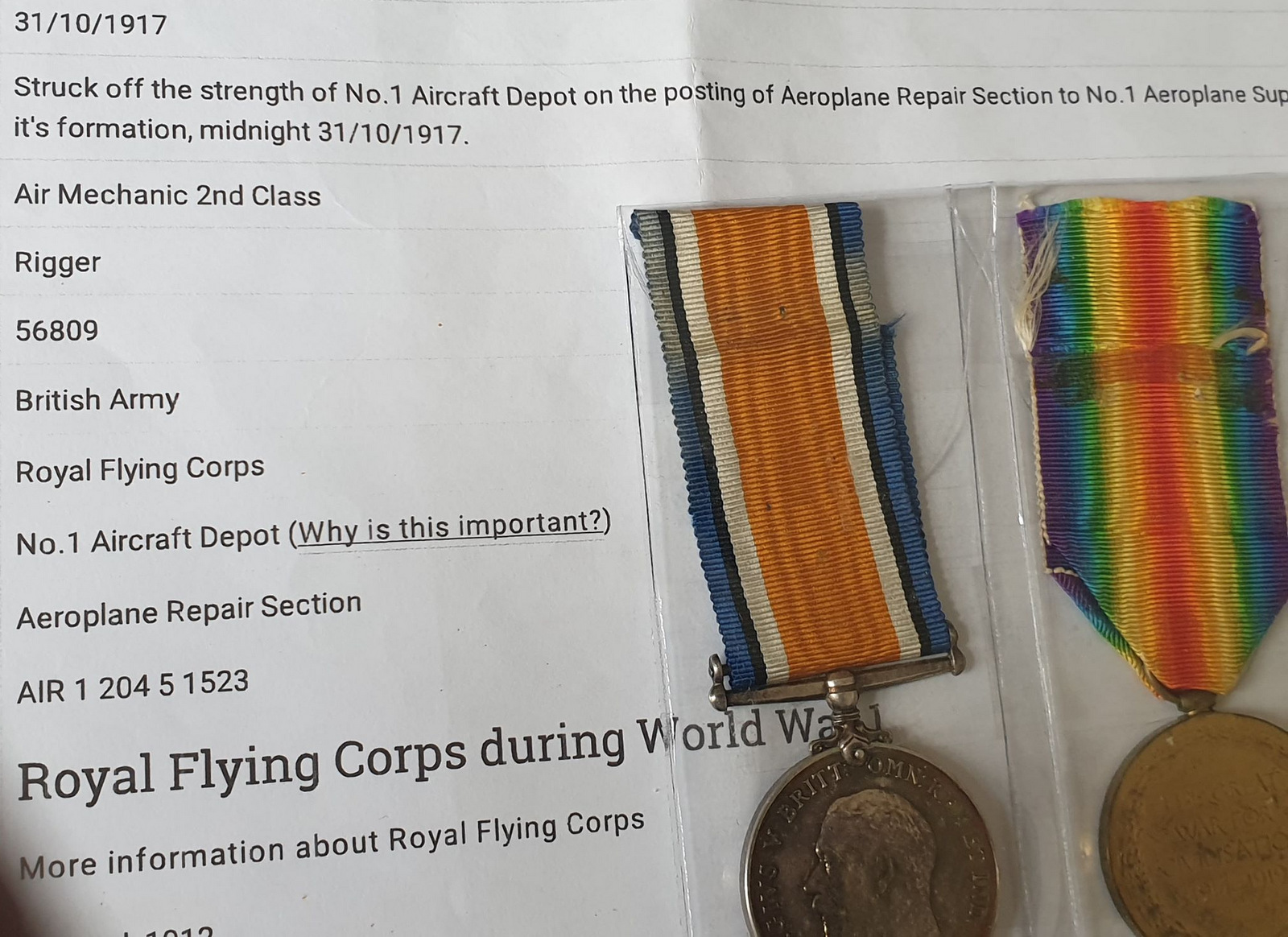 Pair Of Royal Flying Corps Medals - Image 9 of 10