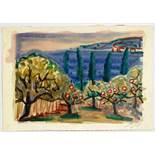 Otto Dix. Tragende Apfelbäume am Bodensee. Aquarell über Bleistift. Um 1955. 16,0 : 22,5 cm.