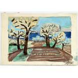 Otto Dix. Blühende Bäume am Bodensee. Aquarell über Bleistift. 1955. 15,5 : 22,0 cm. Signiert und