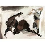 Giovanni de Angelis. Cavallo e cavaliere. Tusche und Aquarell. 1975. 56,5 : 75,5 cm. Signiert und