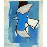 Georges Braque. L'oiseau bleu et gris. (Der blau-graue Vogel.) Farblithographie. 1962. 32,0 : 26,8
