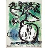 Marc Chagall. L'oiseaux vert. Farblithographie nach einem Gemälde. 1962. 65 : 50 cm (70,0 : 53,4