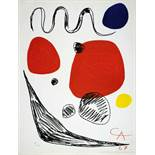 Alexander Calder. Red, Blue and Yellow Spheres. Farblithographie. 1967. 65 : 50 cm. Im Stein