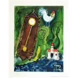 Marc Chagall. L'horloge. Farbradierung nach einem Gemälde. 1956. 31,1 : 23,3 cm (55,9 : 38,3 cm).