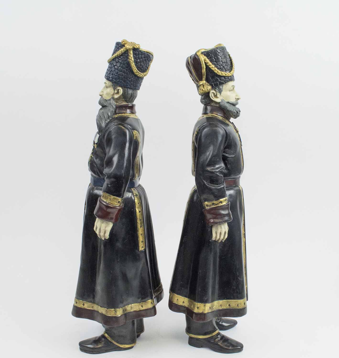 FABERGE MANNER BRONZE COSSACKS, a pair, Pustynnikov chamber Cossack 1894, - Image 3 of 6