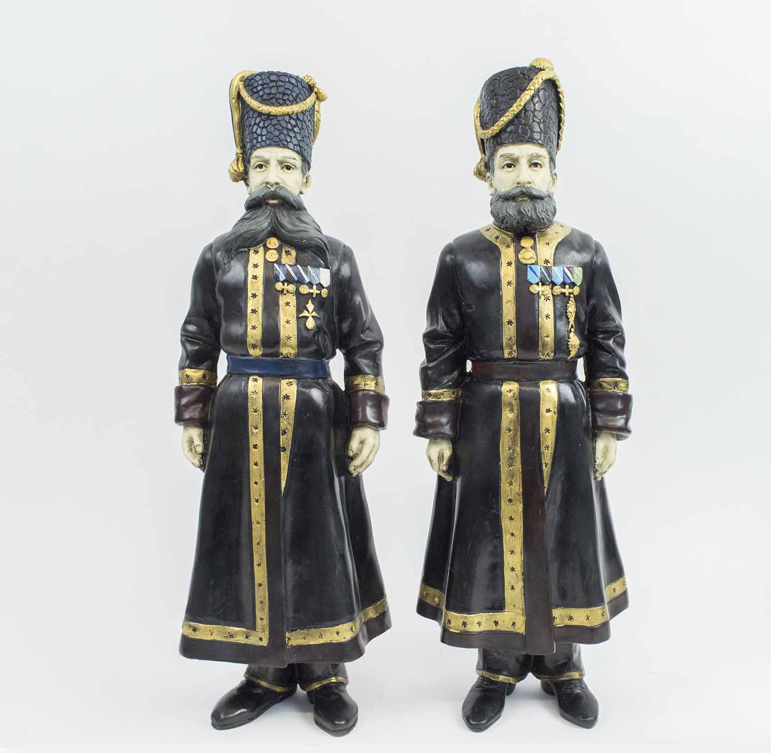 FABERGE MANNER BRONZE COSSACKS, a pair, Pustynnikov chamber Cossack 1894, - Image 2 of 6