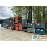 "((LOT) ASSORTED STEEL BINS: (9) 48"" X 45"" X 26""H; (7) 42"" X 36"" X 28""H; (21) 36"" X 32"" X 24""H;"