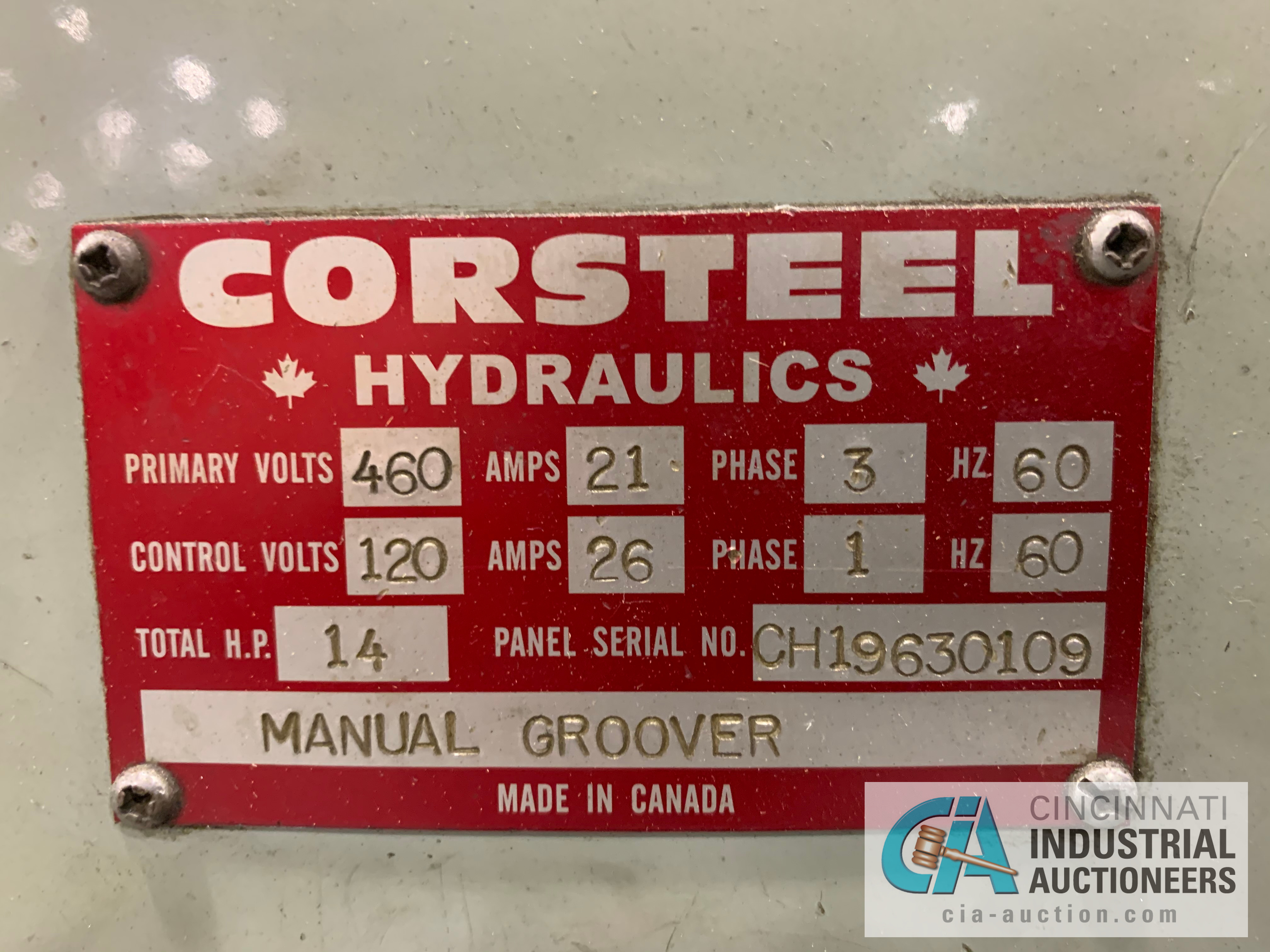 CORSTEEL MANUAL GROOVER; 14 HP **RIGGING FEE DUE TO SHOEMAKER $500.00** - Image 7 of 7