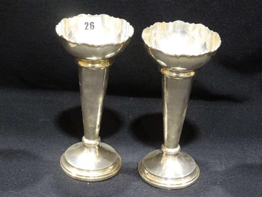 Lot 26 - A Pair Of Circular Based Weighted Silver Rose Vases, Birmingham Hallmarks, Circa 1970s