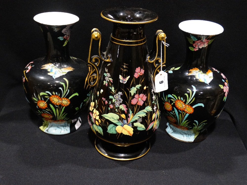 Lot 9 - A Pair Of Wood & Sons Korea Pattern Circular Based Vases, Together With A Similar Single Vase