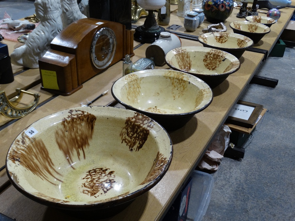 Lot 56 - An Excellent & Rare Set Of Six Graduated Slip Glazed Circular Stoneware Dairy Bowls, The Largest