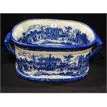 A Reproduction Blue & White Transfer Decorated Pottery Foot Bath