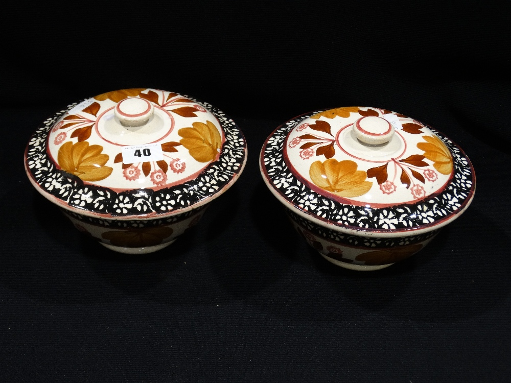 Lot 40 - A Pair Of 19th Century Staffordshire Pottery Sponge Ware Decorated Bowls & Covers