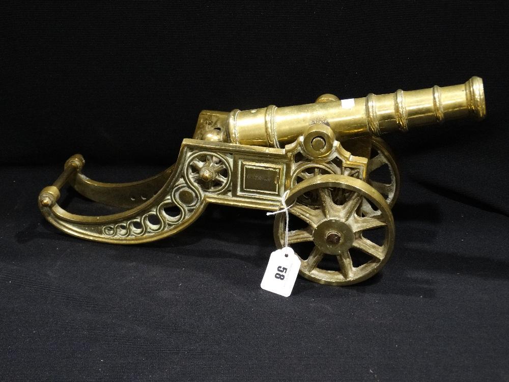 Lot 58 - A Large Heavy Brass Ornamental Cannon