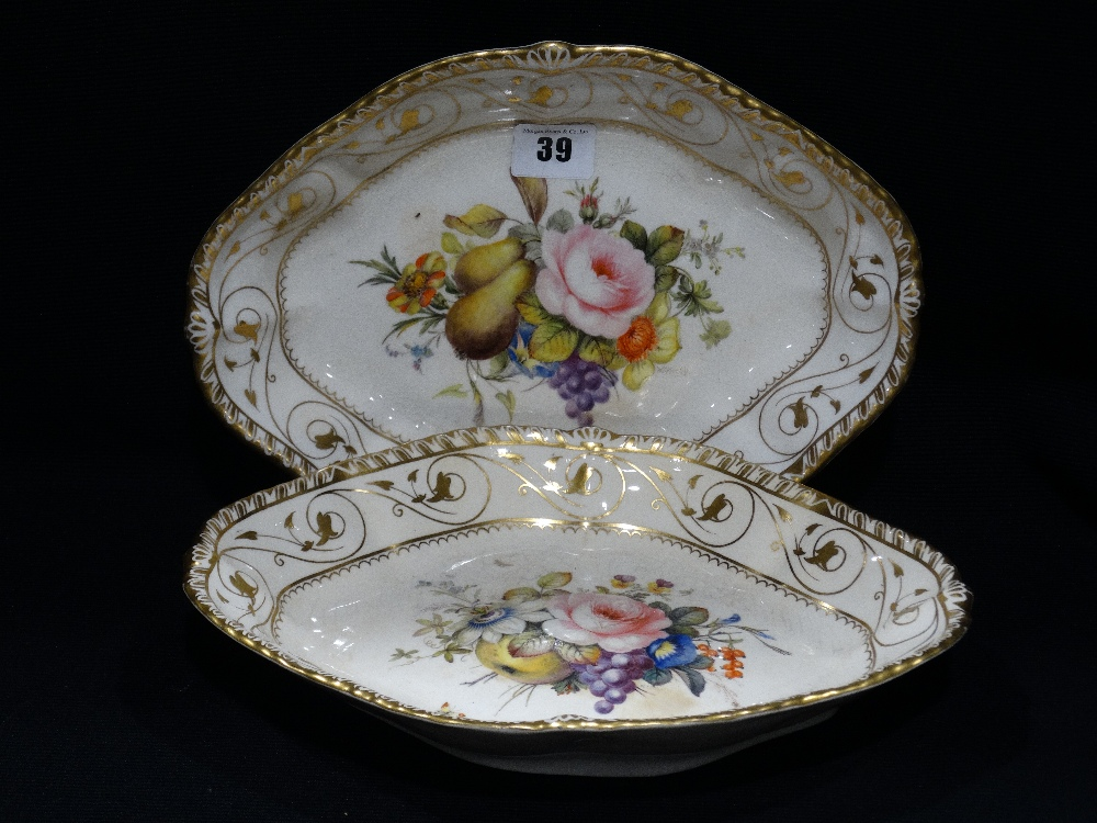 Lot 39 - A Pair Of Bloor Derby Serving Plates With Painted Fruit & Floral Panels