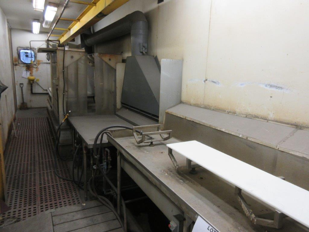 Acid washing chamber (8ft w x 33 ft l x 10 ft h approx), including electric hoist 1/2 Ton and 20