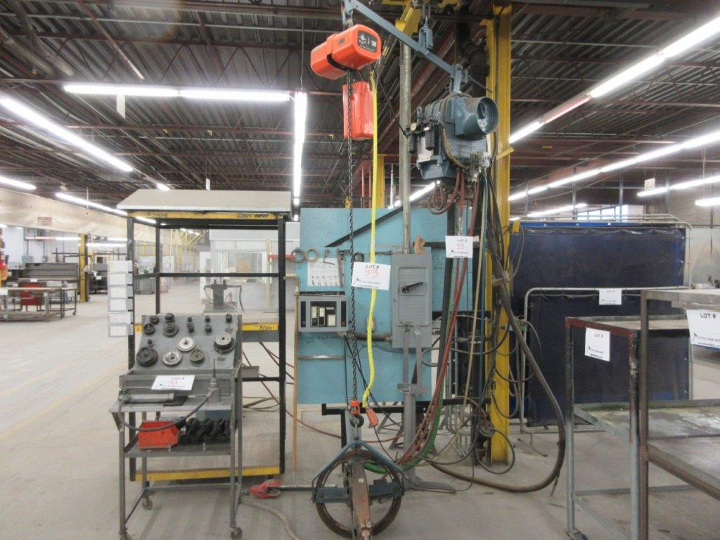 MCCARTHY soldering system 75 KVA, 550 V, w/t JET electric hoist 1/2 Ton