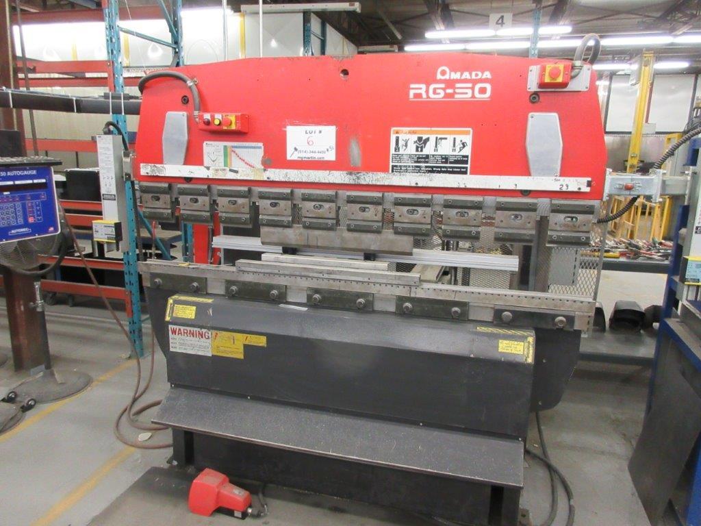 AMADA CNC Hydraulic brake press (1998) Mod: RG 50, Cap: 50 Ton. 6ft back guage, electronic control