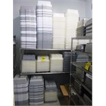 large qty. of grey & white plastic bus tubs