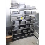 assorted s/s baking tins c/w s/s shelf on casters