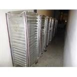 (11) aluminum tray carts c/w trays