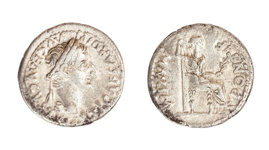 Lot 54 - A silver denarius struck for Tiberius (AD 14-37) dating to c. AD 14-37. Obverse: TI CAESAR DIVI