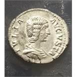 A silver denarius of Julia Domna (AD 193-217) dating to c. AD 196-211. Obverse: IVLIA AVGVSTA,