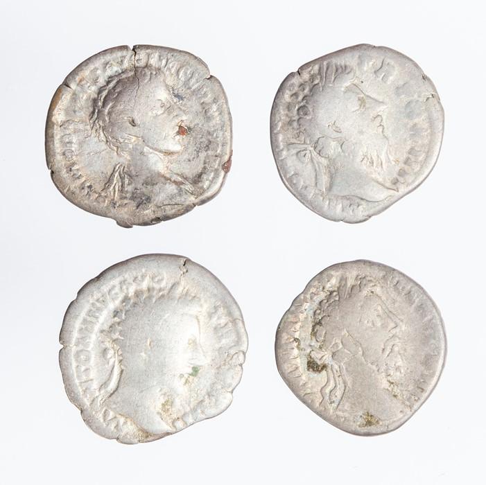 Lot 52 - A mixed lot of four Roman silver denarii. Represented in this lot: Marcus Aurelius as Caesar (1),