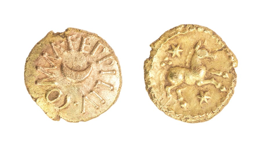 Lot 30 - An inscribed gold quarter stater of the Southern Region/Atrebates and Regni, struck under