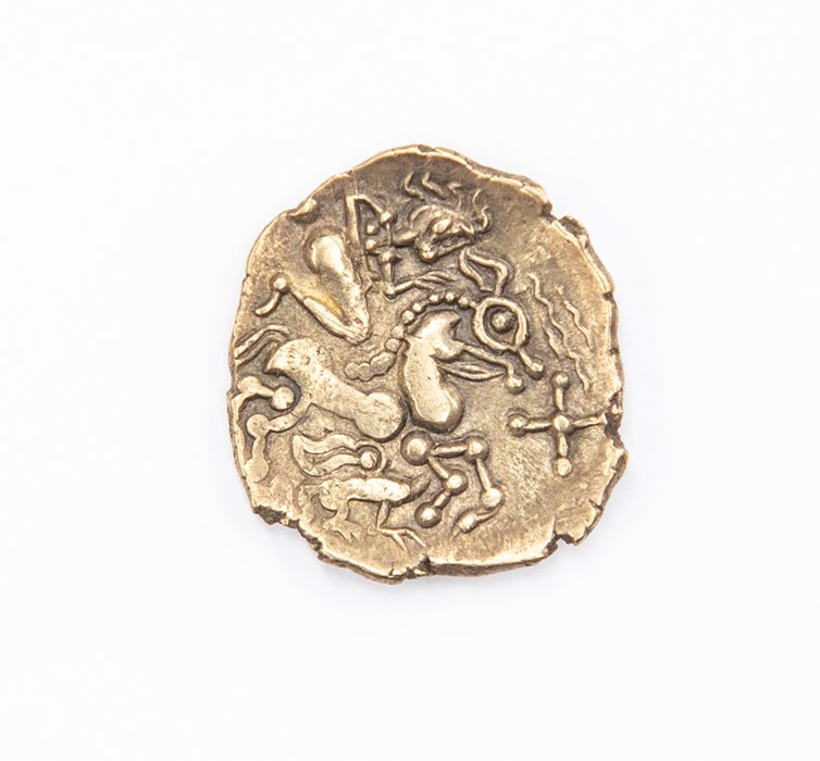 An uninscribed Gallic half stater attributed to the Aulerci Eburovices, c. 150-100 BC. Obverse: no