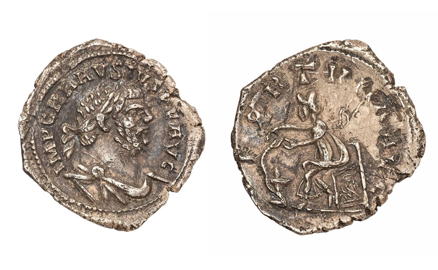 An unpublished silver denarius of the Britannic emperor Carausius (AD 286-293) dating to c. AD 286-