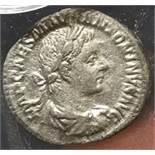 A silver denarius of Elagabalus (AD 218-222) dating to c. AD 218-219. Obverse: IMP CAES M AVR