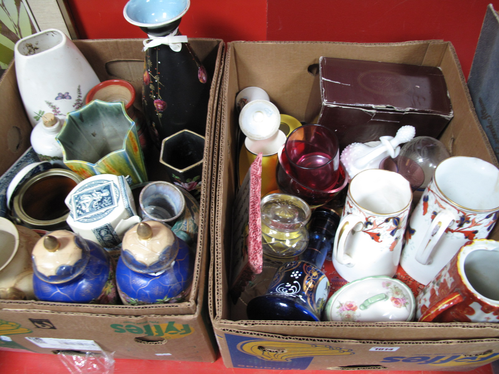 Lot 1014 - Vases, jugs, other ceramics, glassware (damages):- Two Boxes